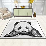Bereich Teppich, Lovely Zeichnen Panda Print Teppich Designer Super Soft Polyester Große rutschfeste Modern Bad-Teppiche für Schlafzimmer Wohnzimmer Hall Abendessen Tisch Home Decor 121,9x 160cm, Textil, multi, 48 x 63 inch