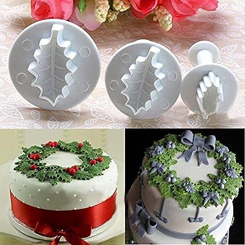 3X Natale Agrifoglio Foglia torta Cookie Cutter Sugarcraft che decora muffa