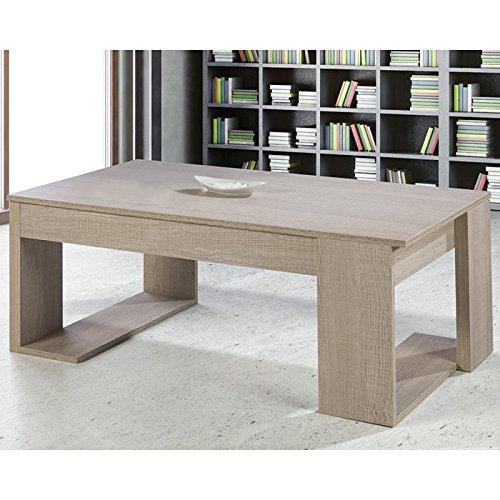Tousmesmeubles Table Basse relevable Chêne Clair - GUIZMO - L 110 x l 60 x H 44 - Neuf