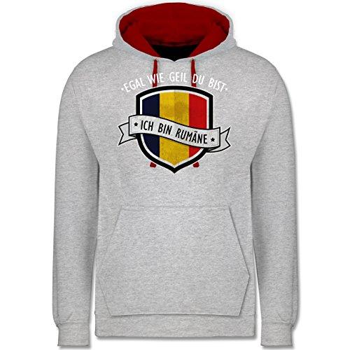 Länder - Egal wie geil du bist - ich bin Rumäne - Kontrast Hoodie Grau Meliert/Rot