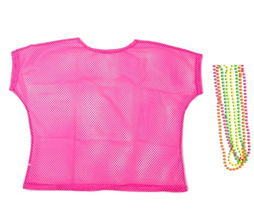 Women's Neon Pink Fishnet Top with Bead Necklaces - M, L