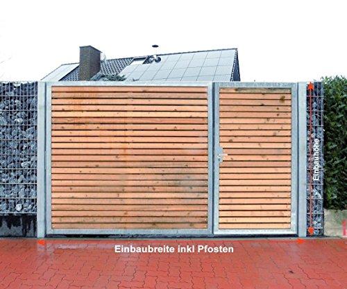 Einfahrtstor/Einbaubreite 400 cm/Einbauhöhe 160 cm/Hochwertiges 2-flügeliges asymmetrisch geteiltes Tor/Aufteilung: 1,5 m + 2,5 m/Verzinkt mit Holzfüllung quer/Holz Tor Gartentor Hoftor