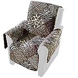 vivaDOMO Wende-Sesselschoner 'Safari', Sesselüberwurf Sofaschoner Sesselbezug Schutzbezug Armlehnenschoner, Polyester, 179 x 165 cm
