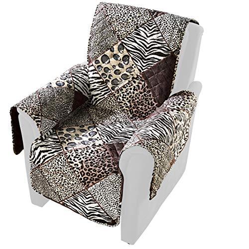 "vivaDOMO Wende-Sesselschoner \""Safari\"", Sesselüberwurf Sofaschoner Sesselbezug Schutzbezug Armlehnenschoner, Polyester, 179 x 165 cm"