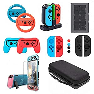 Nintendo Switch Zubehör Set -Aroek 17 in 1 Nintendo Switch konsole Tragetasche Hülle Displayschutzfolie-Controller…