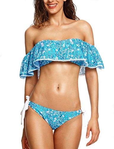 CIDEARY Damen Rüsche Trägerlos Badeanzug Ernte Spitzen Blumen Volant Bikini Set Floral Print