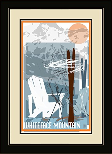 "Price comparison product image Northwest Art Mall ""MR-5320 FGDM SKC Whiteface Mountain New York Adirondack Chairs & Skis Framed Wall Art"" by Artist Mike Rangner,  16"" x 22"""