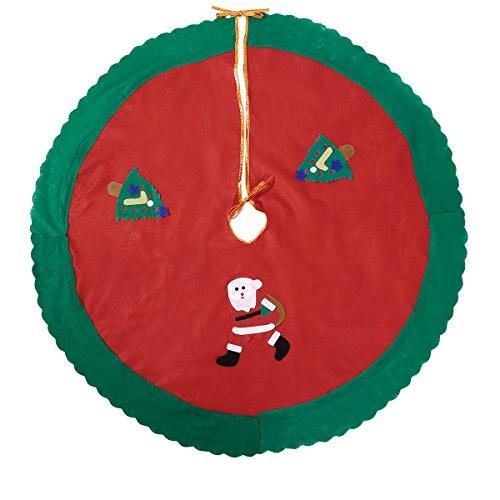 90cm Falda Faldón Pie para el Árbol de Navidad Cubierta para Base Adorno de Árbol Decoración Papa Noel Muñeca de Nieve ( Papa Noel y 2 árboles )