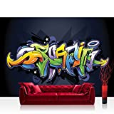 Fototapete 254x184 cm PREMIUM Wand Foto Tapete Wand Bild Papiertapete - Graffiti Tapete Kindertapete Malerei bunt Muster Schrift grün - no. 409
