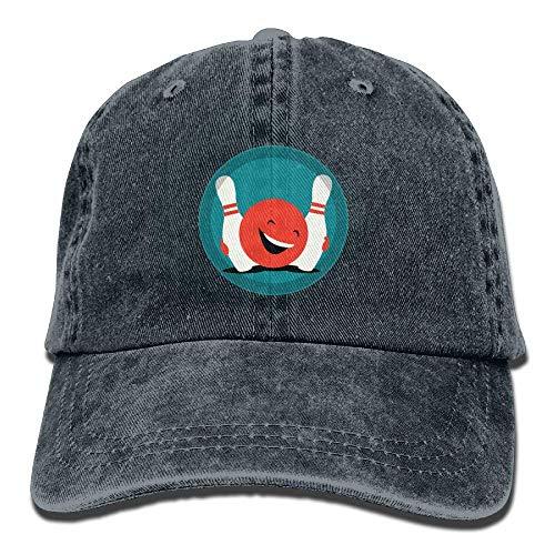 J5E7JYTE Happy Bowling Denim Hat Adjustable Men's Funny Baseball Cap -