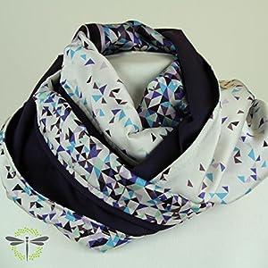 Loop-Schal/Tuch/Damen - flieder & violett & offwhite - schimmernd & glänzend - Viskose-Satin - chic für´s Büro - HANDMADE