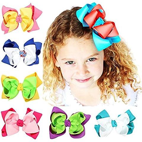 CuteOn 10 pacchetto Bambino Ragazze archi dei capelli Grosgrain Nastro Archi Con Alligatore clip - Grosgrain Clip Arco