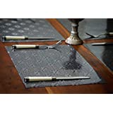 NestRoots Textural Glossy Finish Floral Dining Placemats/Placement Mats/Table Mats (30 Cm X 45 Cm) - Set Of 6
