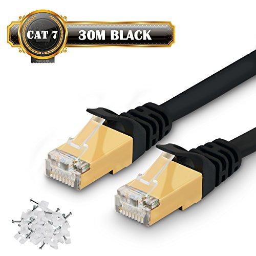 Cat 7Ethernet Kabel–schnellste CAT7flach Ethernet Patch Kabel 750MHz 10GB–super high speed Internet Kabel für Xbox, PS4, PS3, Modem, Router, LAN, Computer, Schalter–Netzwerk Kabel kompatibel mit Cat 5e, Cat. 6A, Cat 6Netzwerkkabel–Kabel Clips im lieferumfang enthalten 30M(100FT) Schwarz
