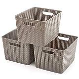 EZOWare Grigio Multiuso Cesto portaoggetti in plastica per Bagno e Cucina - Set di 3 / Grande