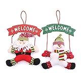 Zogin Babbo Natale Pupazzo di Neve Addobbo da Appendere alla Porta d'ingresso Decorazione per le Feste Natalizie con Parole Welcome