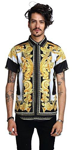 Pizoff Herren Hemdkragen mit kurz Ärmeln fashion Hip-Hop Tops Hemden mit floral blumen luxus palace muster Y1782-03-XL (Womens Hardy Ed Clothing)