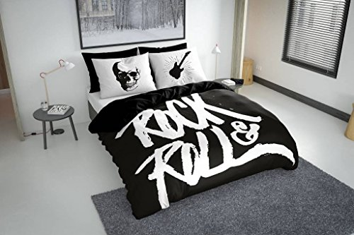 Preisvergleich Produktbild Nightlife - Bettwäsche / Bettbezüge Rock N Roll Black - Schwarz - 135x200 - Mit 1 Kissenbezug 80x80