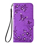 Image of Samsung Galaxy A3 2017 Case Samsung Galaxy A3 2017 Cover Alfort Embossed Rhinestone studded Phone Case Cover Fashion Design Dual use Flip Fold Premium Pu Leather Book Wallet Style Case Stand Cover Stand Function With Magnetic Closure For Samsung Galaxy A3