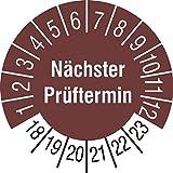 TE-Office 120 Stück Prüfsiegel Prüfplakette Nächster Prüftermin 18-23 braun auf 5 Bogen 20mm Durchmesser laminiert abriebfest
