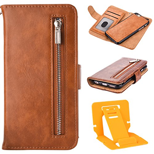Custodia Per iphone 6S plus Cerniera Portafoglio, iphone 6 plus 5.5 Cover Pelle, Ekakashop Neo Morbida Rigida Corda Puro Colore Anti-Theft Completa Donna Ragazza Ragazzo Uomo Rigida PU Leather Flip Li Marrone chiaro