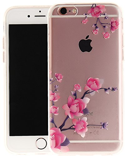 Nnopbeclik Silikon Transparent Hülle Für Apple Iphone 6 / 6S, Ultra Slim Weich TPU Cover Case Neu Design Super Durchsichtig Hohl Luxus Bling Blume Case Etui, Schutzhülle Muster Glänzend Glitzer Strass #11