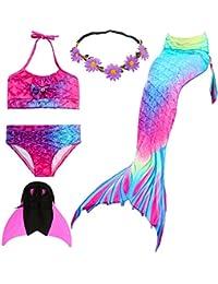 UrbanDesign Meerjungfrau Flosse Zum Schwimmen Flossen Für Mädchen Kinder Mit Bikini