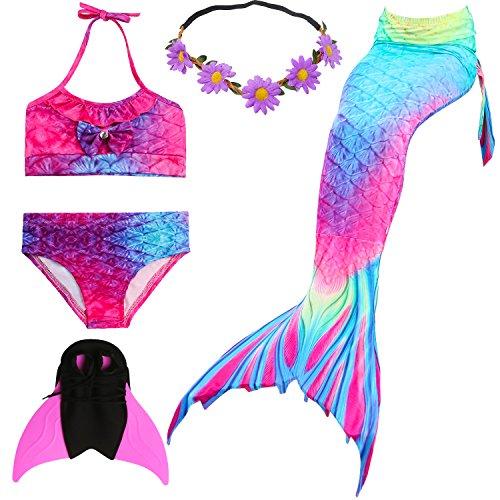 UrbanDesign Meerjungfrau Flosse Zum Schwimmen Meerjungfrau Schwanz mit Flosse mit Bikini für Kinder Mädchen, 9-10 Jahre, Rosa Blau
