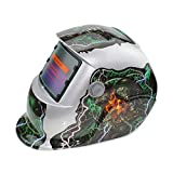 Hanbaili Casco de soldadura, cráneo rojoSolar Powered Welding Casco Auto oscurecimiento Hood, para Mig Tig Arc Welder Máscara Blue Eagle Design