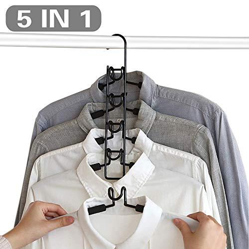 CETECK Platzsparend Metall Mehrschichtig Hemden Aufhänger-Gestell 5 in 1 Multilayer Eva-Schwamm Anti-Rutsch Erwachsene Mehrzweck Veranstalter Für Jeans Shirts Hosen Mäntel -