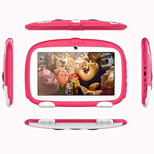 7 Zoll Cartoon Tablets Computer Kinder Quad Core Wi-Fi 1 GB + 8 GB 1024 x 600 Bildschirm Kinder Bildung Spiele Android 5.1 Tablet,Pink