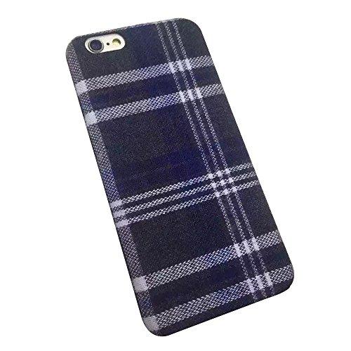 Cuitan Durable Silicone + Flanelle Housse Case pour Apple iPhone 6 plus / 6S plus (5.5 Inch), Retro Treillis Désign Résistant à l'usure Retour Housse Back Cover Protecteur Etui Coque Cover Shell pour  Treillis Bleu