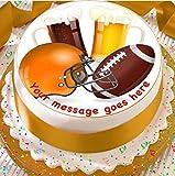 American Football 19 Cm Rund Fontantglasur Essbarer Kuchen Topper und Bedruckt mit Ihre Benutzerdefinierte Gruß