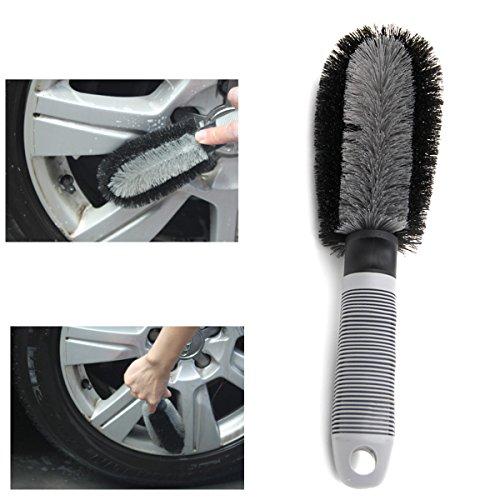 Ploopy Auto Felgenbürste Waschbürste , Felgenbürste mit ergonomischen Griff, Reinigung Bürste Autopfleg für Alu Felgen