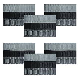 Tisch-Sets von U'artlines, quer verwobenes Vinyl, Rutschfest, beschichtete Tisch-Sets, abwischbare Tisch-Sets, 4-teilig 6pcs Grey&Black