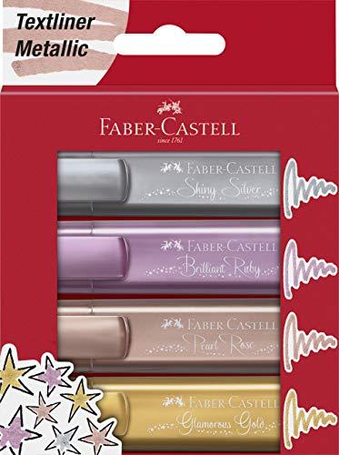 Faber-Castell 154640 - Evidenziatore 46 Metallic, astuccio da 4 pezzi