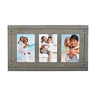 Adeco 3 Openings Decroative Antique Wood Collage Picture Photo Frame, Blue-Grey, Made to Display Three 4