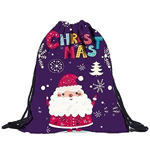 Longzjhd Unisex 3D Digital Drucken Zeichnen Tasche Rucksack Kordelzug Tasche Schulter Elch schön Weihnachten Elch schön Umhängetasche Freizeit Kordelzug Reise Kordel Tasche