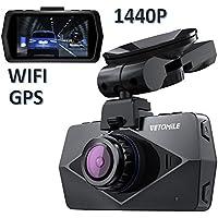 """VETOMILE V2 2K Dash Cam Full HD 1440P Caméra Embarquée Voiture Appareil Photo Intégré 2,7""""LCD, Vidéo DVR avec 170℃ Grand Angle, Enregistrement en Boucle/d'Urgence, WiFi,GPS"""
