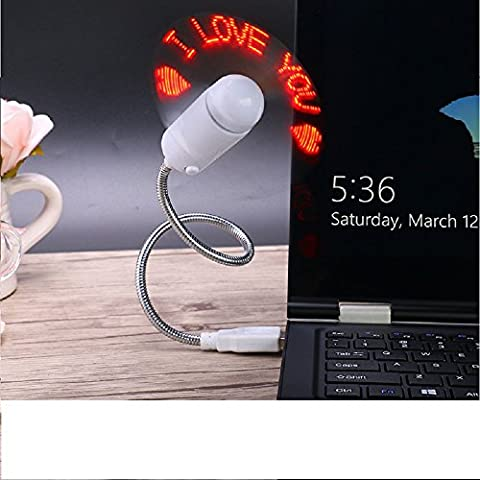 Zhiding USB LED RGB Programmable Message Fan for PC Laptop Notebook Desktops USB Powered (Green Led)
