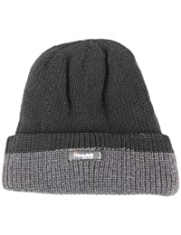 3M Thinsulate fleece lined chunky knit 2 tone beanie hat with turn up