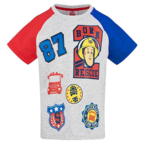 Feuerwehrmann Sam Kollektion 2018 T-Shirt 92 98 104 110 116 122 128 Shirt Fireman Sam Jungen Neu Top Feuerwehrauto Rot (Grau, 92-98)