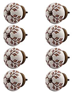 Indian-Shelf Handmade Ceramic Leaf Cut Flower Drawer Knobs Etched Furniture Pulls Cabinet Handle(Brown, 1.5 Inches)-Pack of 8