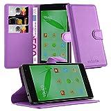 Cadorabo Hülle für OnePlus One 2 Hülle in Mangan Violett Handyhülle mit Kartenfach und Standfunktion Case Cover Schutzhülle Etui Tasche Book Klapp Style Mangan-Violett