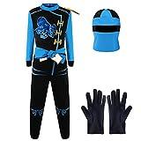 Katara 1771 - Ninja Kostüm Anzug, Kinder, Verkleidung Fasching Karneval, Größe L, Blau Schwarz