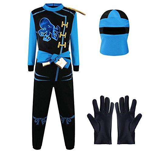 Kostüm Ninja Jungen Blau - Katara 1771 - Ninja Kostüm Anzug, Kinder, Verkleidung Fasching Karneval, Größe M, Blau Schwarz