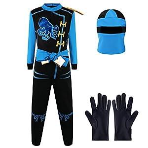Katara Disfraz de Ninja Dragón para Niño Carnaval, Cosplay, color jay walker, azul, Talla S (3-5 años) (1771)
