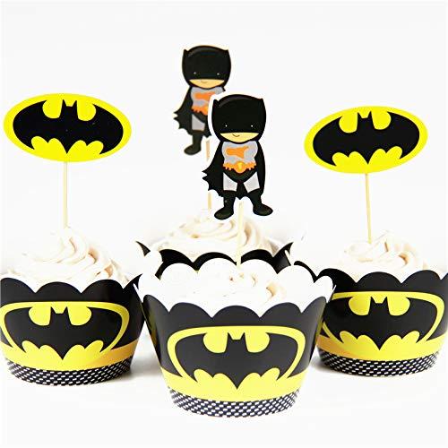 Astra Gourmet 24 Stück Batman Superhelden-Cupcake-Topper Wrapper Party Dekoration Party Supplies für Geburtstag Party Superhelden Kuchen Dekoration