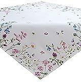 Tischdecke 85x85 cm SOMMER Pflegeleicht Weiß Blumenwiese Biene Bunt Frühlingsdecke (85 x 85 cm)