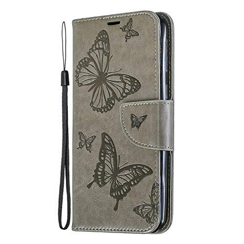 Galaxy M20 Hülle, SONWO Schmetterling Blumen Muster Schutzhülle PU Leder Brieftasche Kratzfestes Ledertasche für Samsung Galaxy M20 mit Ständer und Kartenfach, Dunkelgrün -